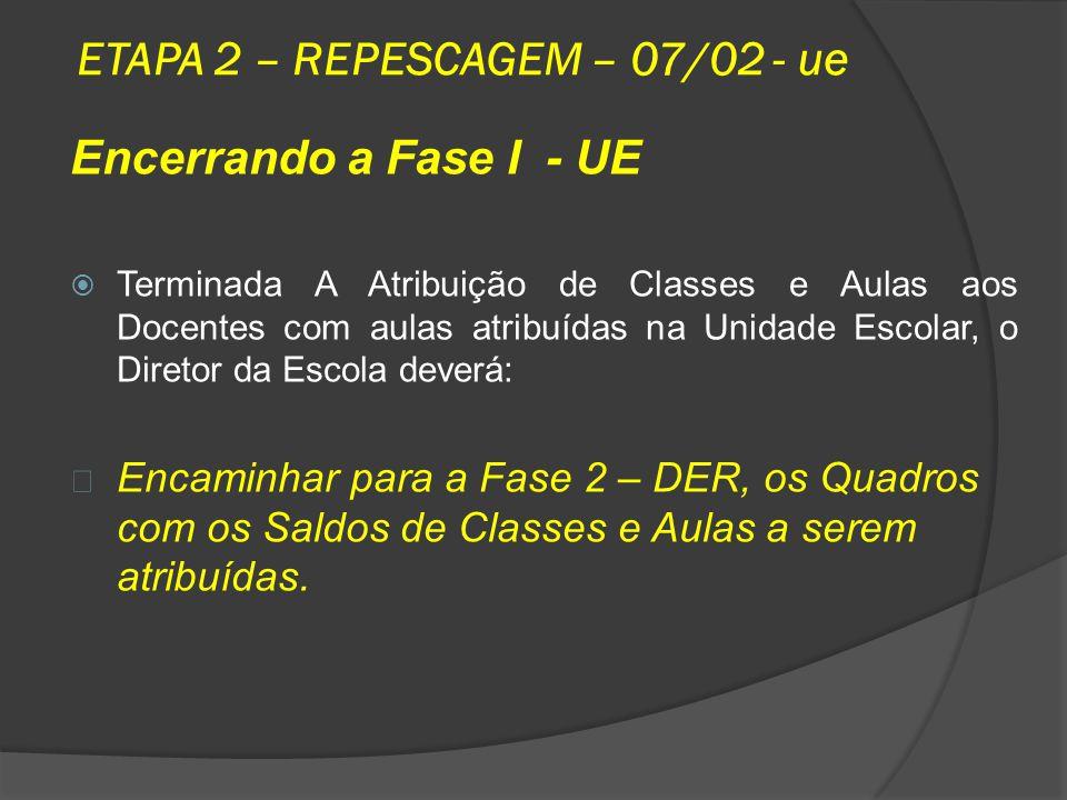 ETAPA 2 – REPESCAGEM – 07/02 - ue Encerrando a Fase I - UE Terminada A Atribuição de Classes e Aulas aos Docentes com aulas atribuídas na Unidade Esco