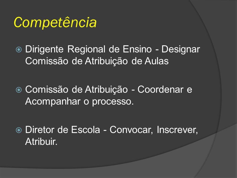 Competência Dirigente Regional de Ensino - Designar Comissão de Atribuição de Aulas Comissão de Atribuição - Coordenar e Acompanhar o processo. Direto