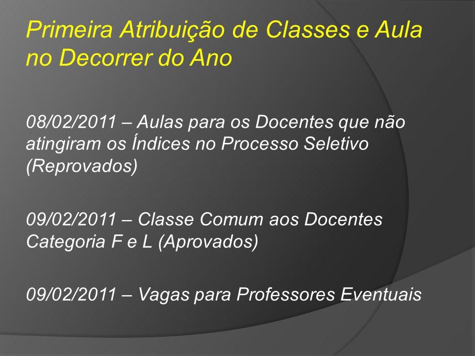 Primeira Atribuição de Classes e Aula no Decorrer do Ano 08/02/2011 – Aulas para os Docentes que não atingiram os Índices no Processo Seletivo (Reprov
