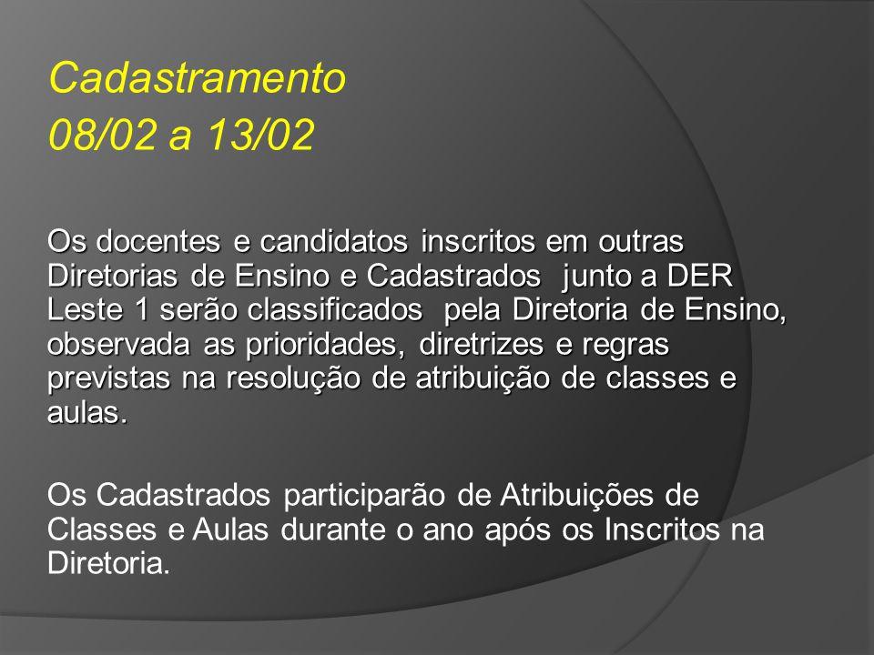 Cadastramento 08/02 a 13/02 Os docentes e candidatos inscritos em outras Diretorias de Ensino e Cadastrados junto a DER Leste 1 serão classificados pe