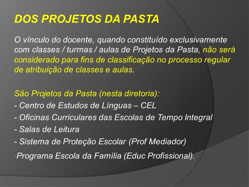 DOS PROJETOS DA PASTA O vínculo do docente, quando constituído exclusivamente com classes / turmas / aulas de Projetos da Pasta, não será considerado