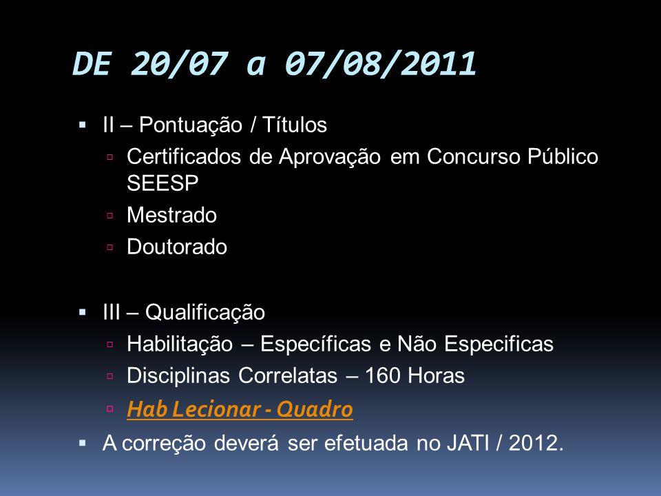 DE 20/07 a 07/08/2011 II – Pontuação / Títulos Certificados de Aprovação em Concurso Público SEESP Mestrado Doutorado III – Qualificação Habilitação –