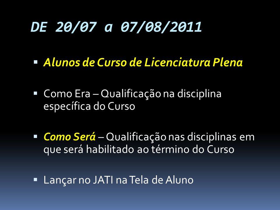 DE 20/07 a 07/08/2011 Alunos de Curso de Licenciatura Plena Como Era – Qualificação na disciplina específica do Curso Como Será – Qualificação nas dis
