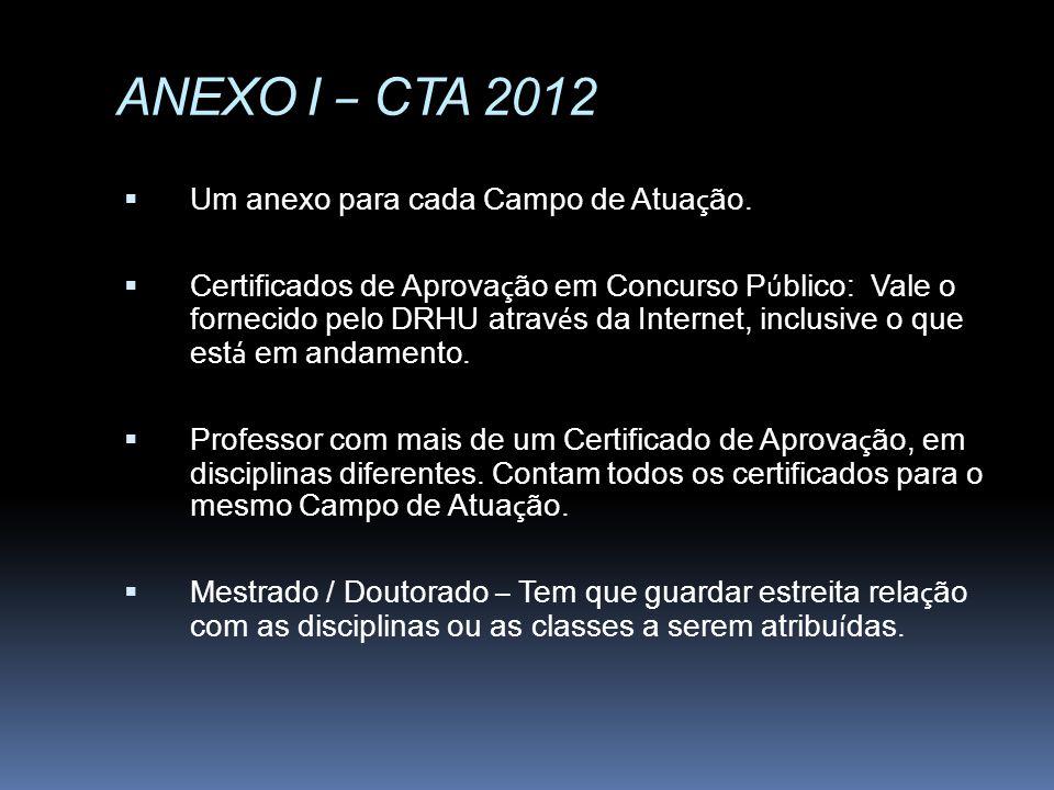 ANEXO I – CTA 2012 Um anexo para cada Campo de Atua ç ão. Certificados de Aprova ç ão em Concurso P ú blico: Vale o fornecido pelo DRHU atrav é s da I