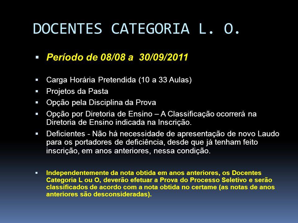 DOCENTES CATEGORIA L. O. Período de 08/08 a 30/09/2011 Carga Horária Pretendida (10 a 33 Aulas) Projetos da Pasta Opção pela Disciplina da Prova Opção