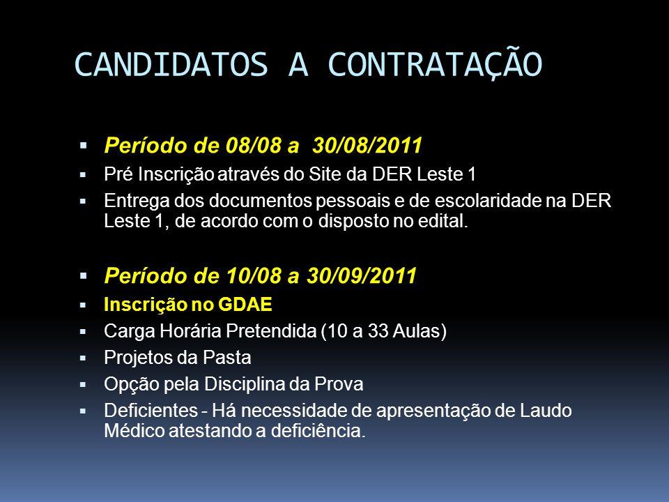 CANDIDATOS A CONTRATAÇÃO Período de 08/08 a 30/08/2011 Pré Inscrição através do Site da DER Leste 1 Entrega dos documentos pessoais e de escolaridade