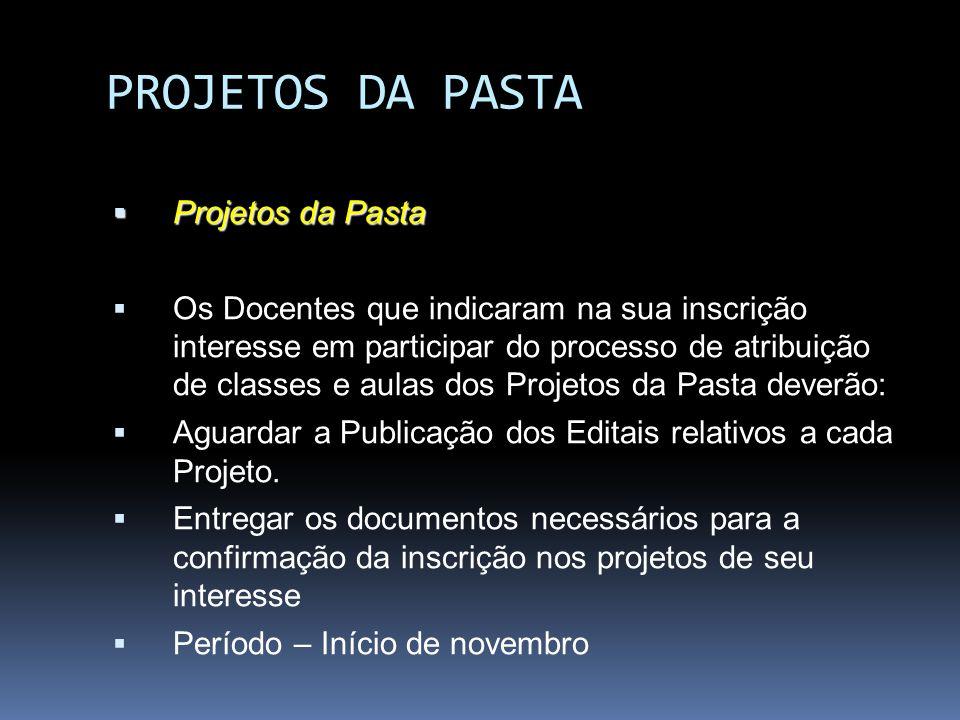 PROJETOS DA PASTA Projetos da Pasta Os Docentes que indicaram na sua inscrição interesse em participar do processo de atribuição de classes e aulas do