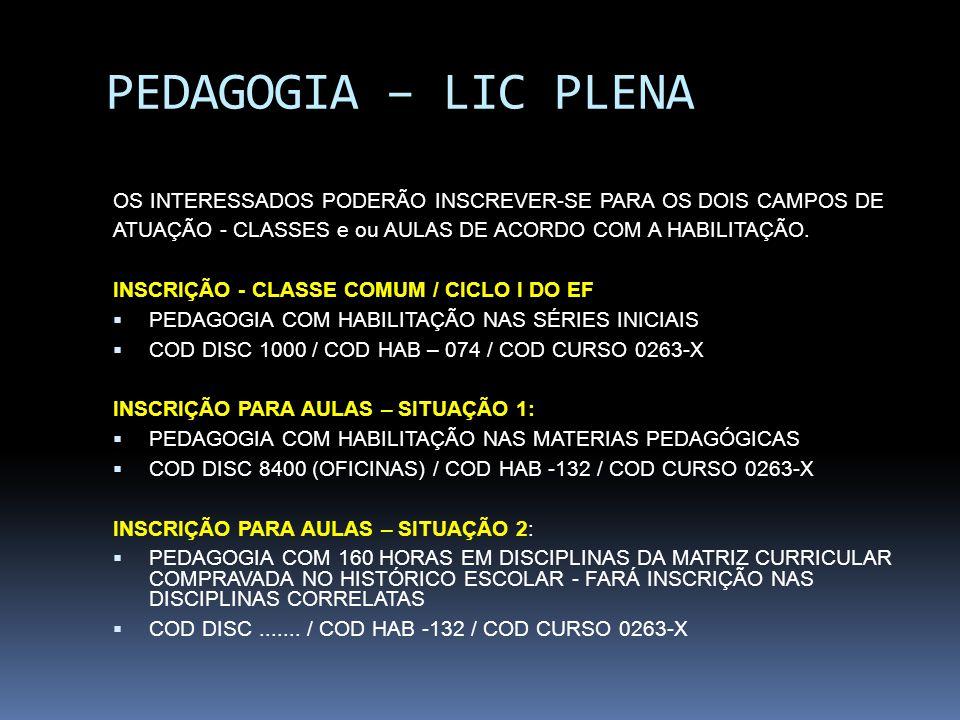 PEDAGOGIA – LIC PLENA OS INTERESSADOS PODERÃO INSCREVER-SE PARA OS DOIS CAMPOS DE ATUAÇÃO - CLASSES e ou AULAS DE ACORDO COM A HABILITAÇÃO. INSCRIÇÃO
