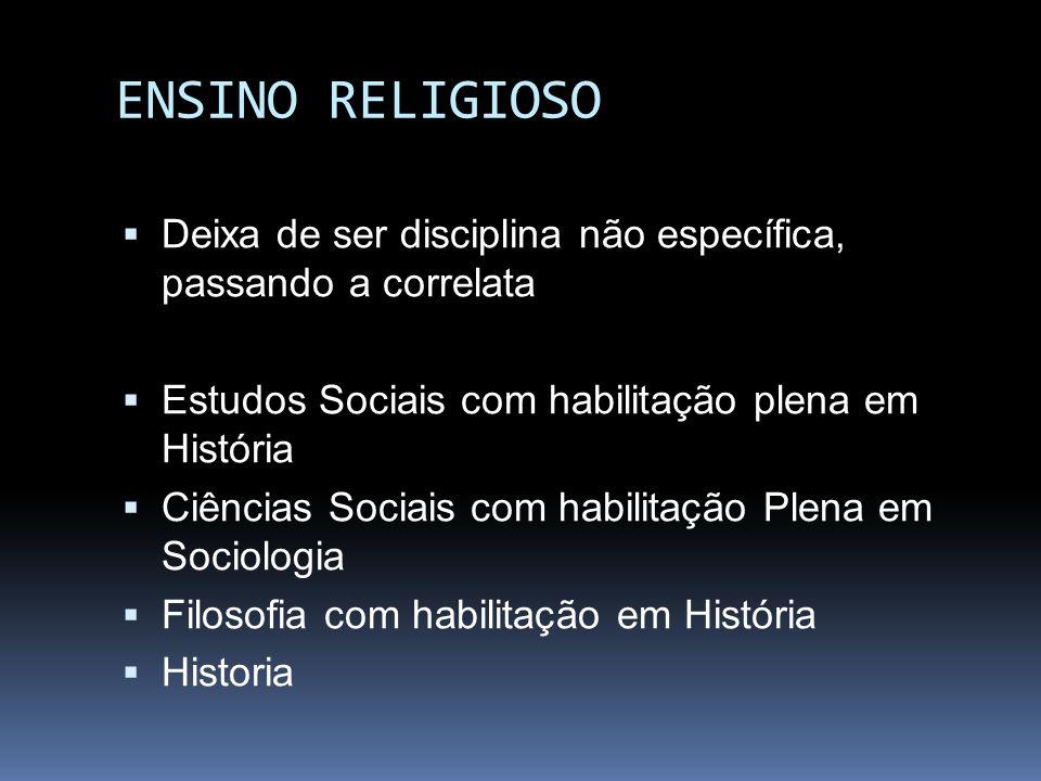 ENSINO RELIGIOSO Deixa de ser disciplina não específica, passando a correlata Estudos Sociais com habilitação plena em História Ciências Sociais com h