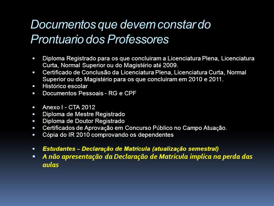 Documentos que devem constar do Prontuario dos Professores Diploma Registrado para os que concluiram a Licenciatura Plena, Licenciatura Curta, Normal