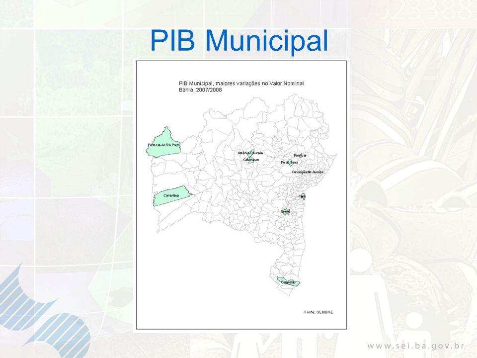 Tabela 8 – Valor agregado dos serviços - Os dez maiores municípios Bahia: 2007 e 2008 Fonte: SEI/IBGE (1): Dados sujeitos a retificação