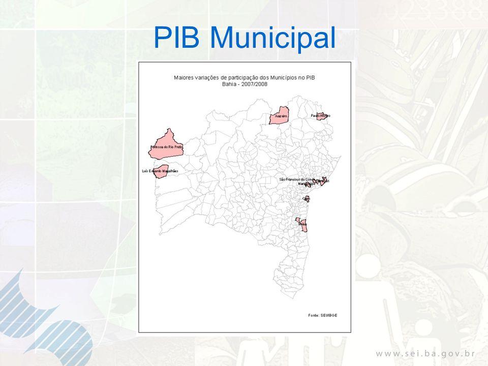 Tabela 9 PIB per capita - Os dez primeiros municípios Bahia: 2007 e 2008 Fonte: SEI/IBGE (1) Dados sujeitos a retificação