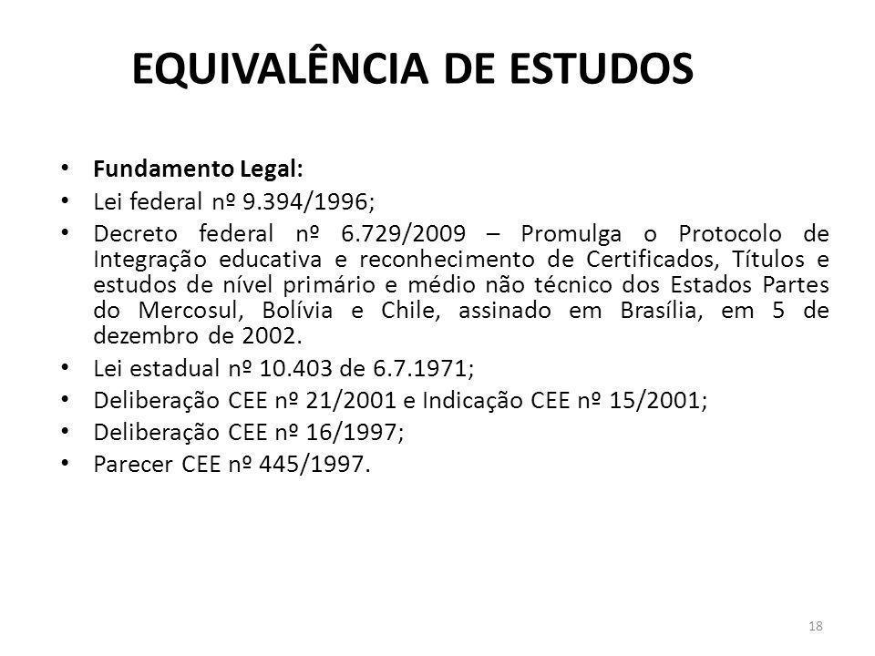 EQUIVALÊNCIA DE ESTUDOS Fundamento Legal: Lei federal nº 9.394/1996; Decreto federal nº 6.729/2009 – Promulga o Protocolo de Integração educativa e re