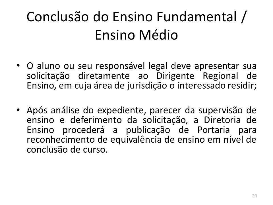 Conclusão do Ensino Fundamental / Ensino Médio O aluno ou seu responsável legal deve apresentar sua solicitação diretamente ao Dirigente Regional de E
