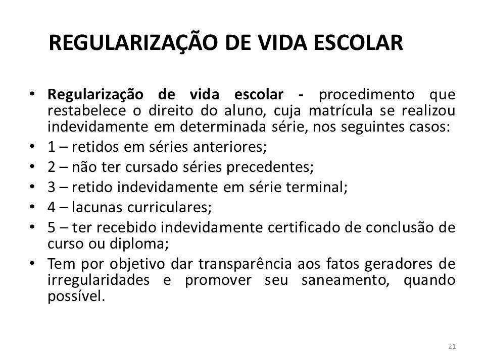 REGULARIZAÇÃO DE VIDA ESCOLAR Regularização de vida escolar - procedimento que restabelece o direito do aluno, cuja matrícula se realizou indevidament