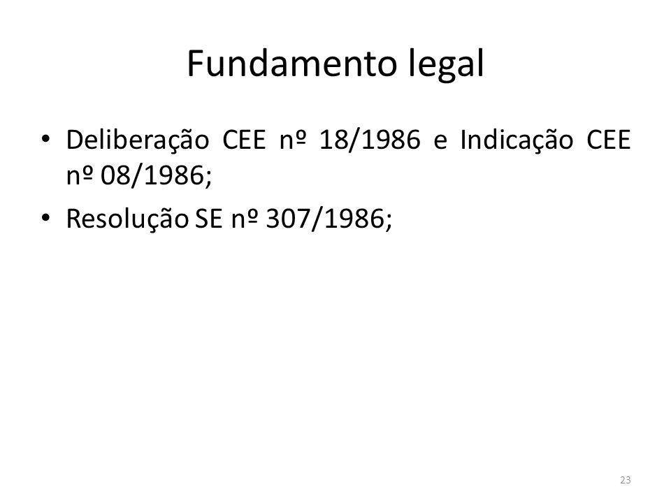 Fundamento legal Deliberação CEE nº 18/1986 e Indicação CEE nº 08/1986; Resolução SE nº 307/1986; 23