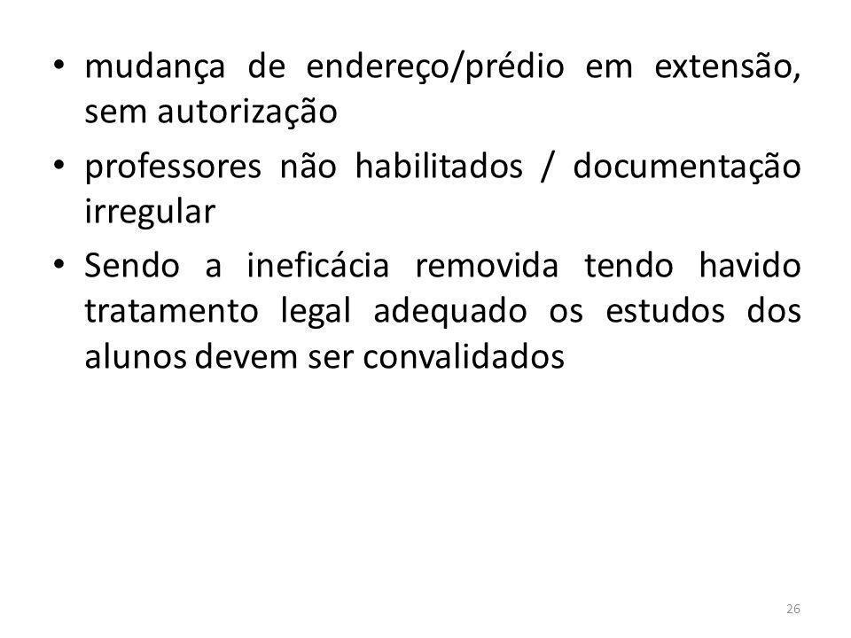 mudança de endereço/prédio em extensão, sem autorização professores não habilitados / documentação irregular Sendo a ineficácia removida tendo havido