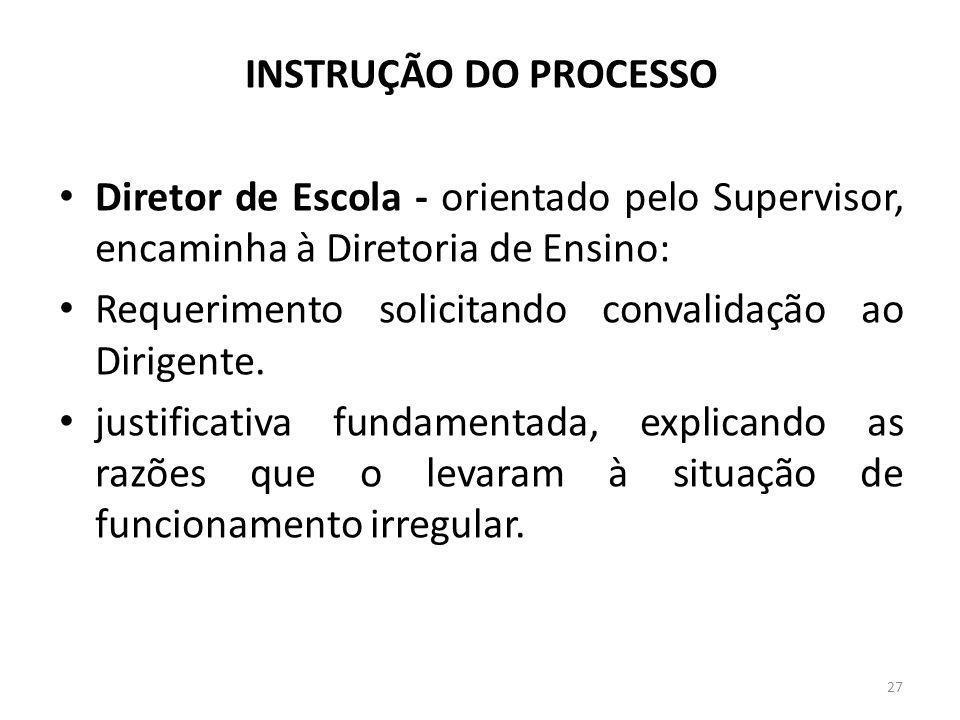 INSTRUÇÃO DO PROCESSO Diretor de Escola - orientado pelo Supervisor, encaminha à Diretoria de Ensino: Requerimento solicitando convalidação ao Dirigen