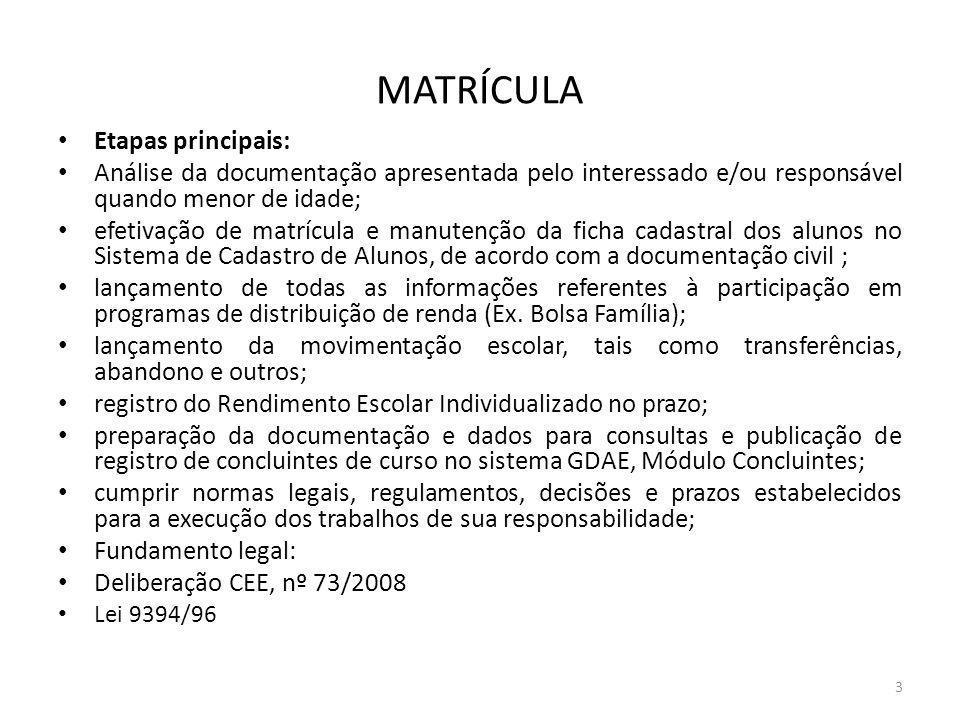 Etapas principais: Análise da documentação apresentada pelo interessado e/ou responsável quando menor de idade; efetivação de matrícula e manutenção d