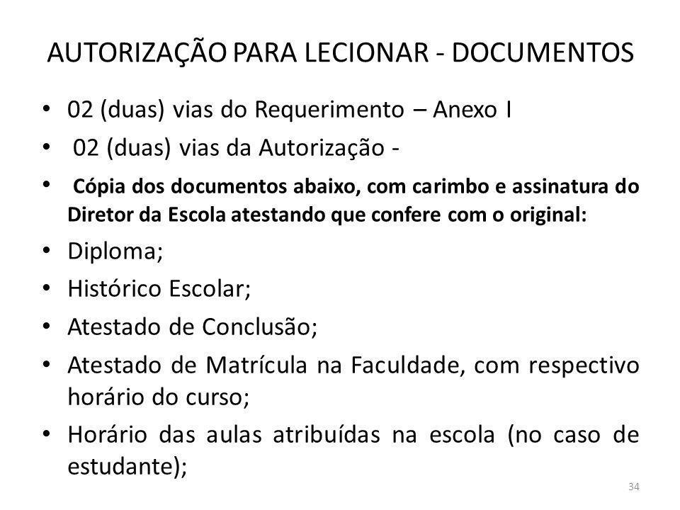AUTORIZAÇÃO PARA LECIONAR - DOCUMENTOS 02 (duas) vias do Requerimento – Anexo I 02 (duas) vias da Autorização - Cópia dos documentos abaixo, com carim