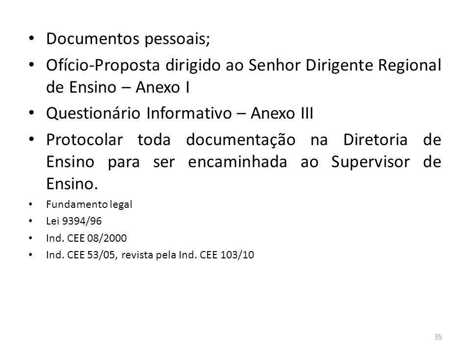 Documentos pessoais; Ofício-Proposta dirigido ao Senhor Dirigente Regional de Ensino – Anexo I Questionário Informativo – Anexo III Protocolar toda do