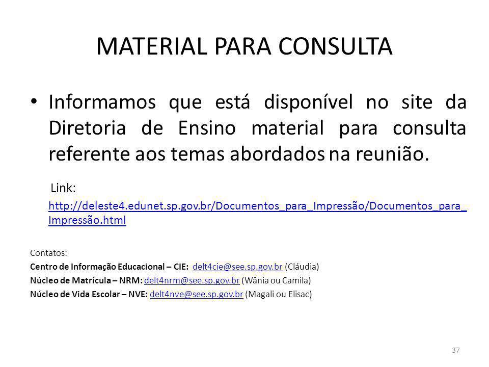 MATERIAL PARA CONSULTA Informamos que está disponível no site da Diretoria de Ensino material para consulta referente aos temas abordados na reunião.