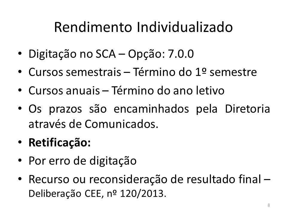 Rendimento Individualizado Digitação no SCA – Opção: 7.0.0 Cursos semestrais – Término do 1º semestre Cursos anuais – Término do ano letivo Os prazos