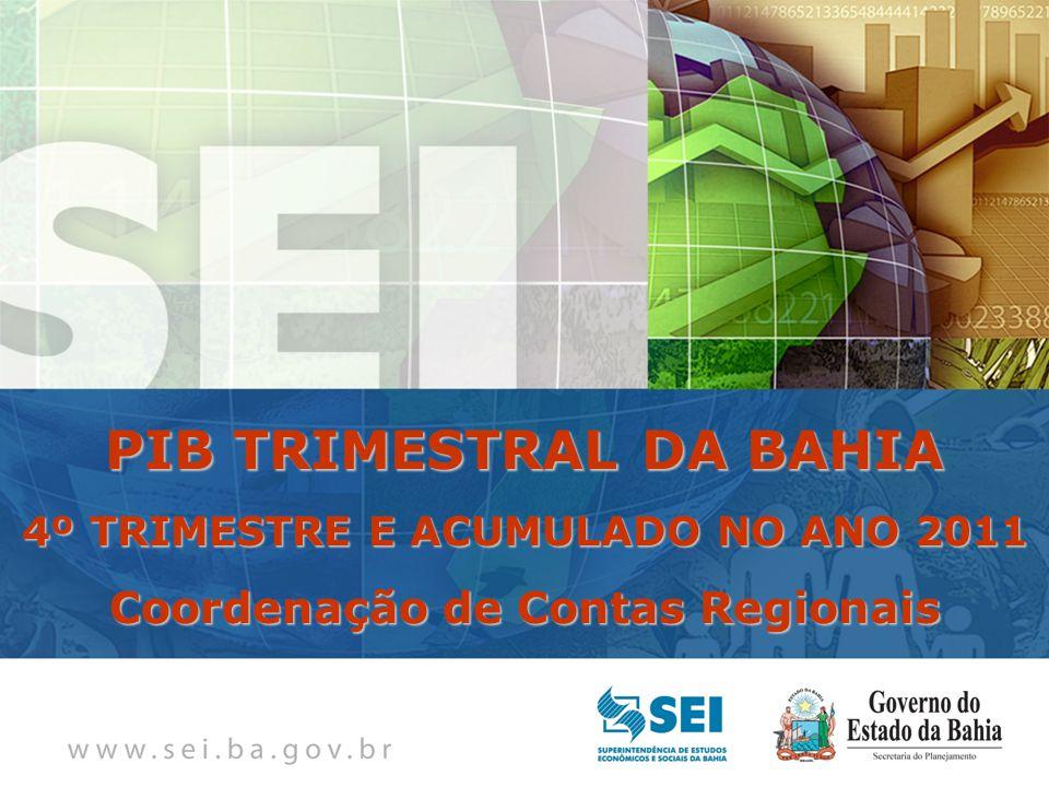 PIB TRIMESTRAL Bahia – 4º Trimestre de 2009 Bahia – 4º Trimestre de 2009 PIB TRIMESTRAL DA BAHIA 4º TRIMESTRE E ACUMULADO NO ANO 2011 Coordenação de Contas Regionais