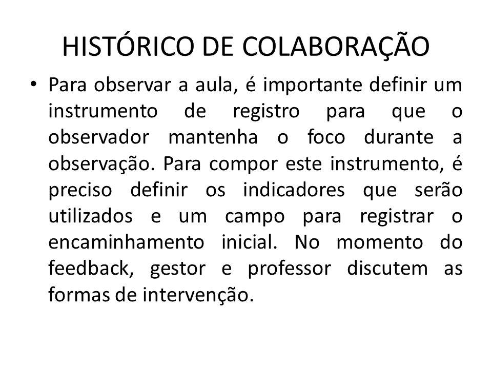 HISTÓRICO DE COLABORAÇÃO Para observar a aula, é importante definir um instrumento de registro para que o observador mantenha o foco durante a observação.