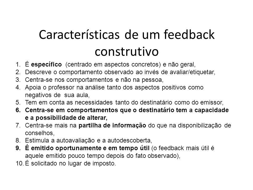 Características de um feedback construtivo 1.É específico (centrado em aspectos concretos) e não geral, 2.Descreve o comportamento observado ao invés de avaliar/etiquetar, 3.Centra-se nos comportamentos e não na pessoa, 4.Apoia o professor na análise tanto dos aspectos positivos como negativos de sua aula, 5.Tem em conta as necessidades tanto do destinatário como do emissor, 6.Centra-se em comportamentos que o destinatário tem a capacidade e a possibilidade de alterar, 7.Centra-se mais na partilha de informação do que na disponibilização de conselhos, 8.Estimula a autoavaliação e a autodescoberta, 9.É emitido oportunamente e em tempo útil (o feedback mais útil é aquele emitido pouco tempo depois do fato observado), 10.É solicitado no lugar de imposto.