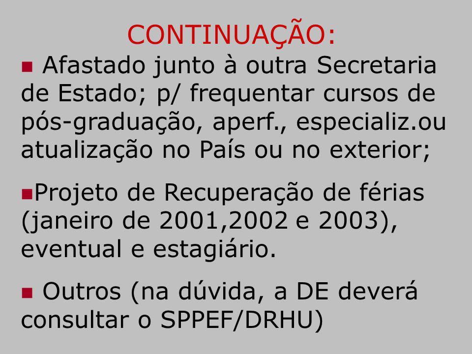 CONTINUAÇÃO: Afastado junto à outra Secretaria de Estado; p/ frequentar cursos de pós-graduação, aperf., especializ.ou atualização no País ou no exter