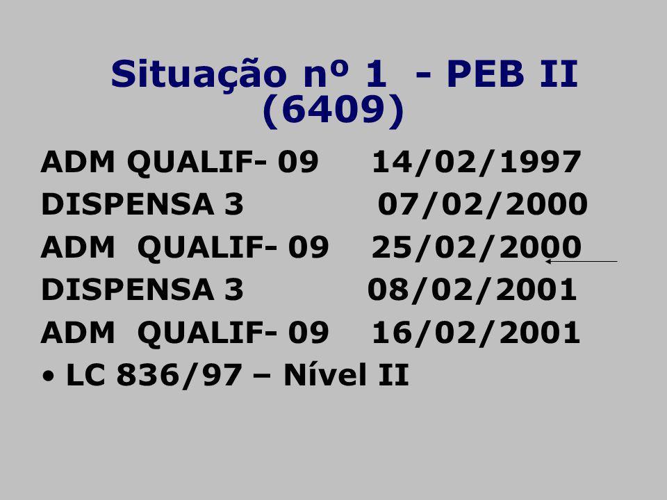 Situação nº 1 - PEB II (6409) ADM QUALIF- 09 14/02/1997 DISPENSA 3 07/02/2000 ADM QUALIF- 09 25/02/2000 DISPENSA 3 08/02/2001 ADM QUALIF- 09 16/02/200