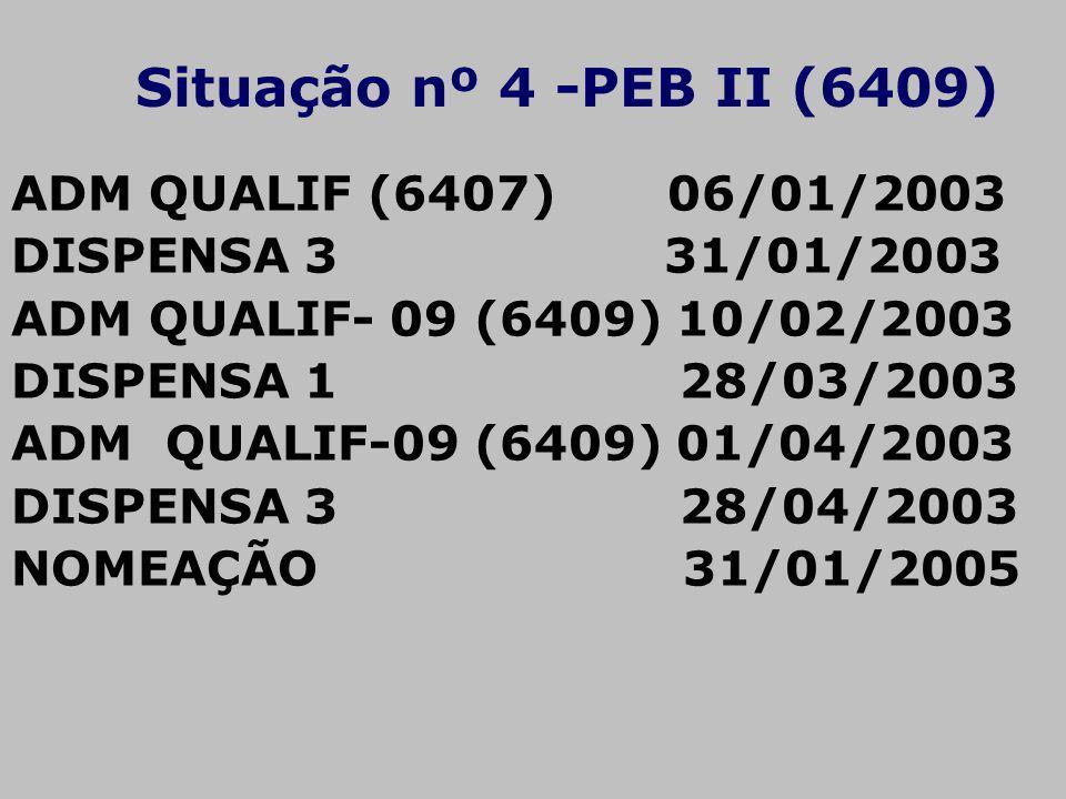 Situação nº 4 -PEB II (6409) ADM QUALIF (6407) 06/01/2003 DISPENSA 3 31/01/2003 ADM QUALIF- 09 (6409) 10/02/2003 DISPENSA 1 28/03/2003 ADM QUALIF-09 (