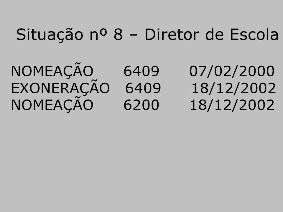 Situação nº 8 – Diretor de Escola NOMEAÇÃO 6409 07/02/2000 EXONERAÇÃO 6409 18/12/2002 NOMEAÇÃO 6200 18/12/2002