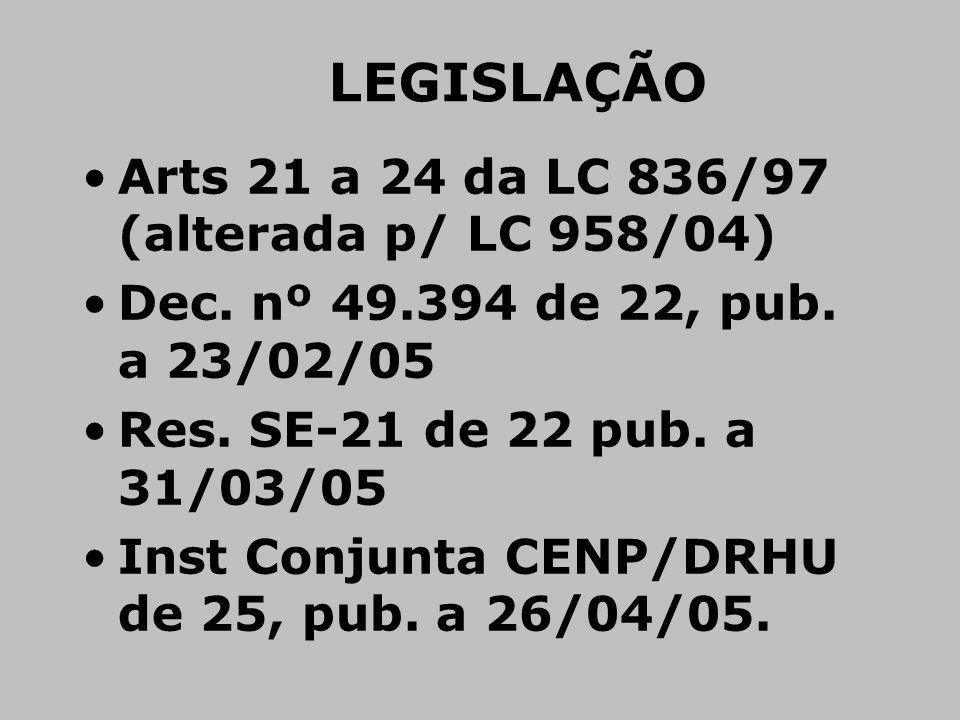 Arts 21 a 24 da LC 836/97 (alterada p/ LC 958/04) Dec. nº 49.394 de 22, pub. a 23/02/05 Res. SE-21 de 22 pub. a 31/03/05 Inst Conjunta CENP/DRHU de 25