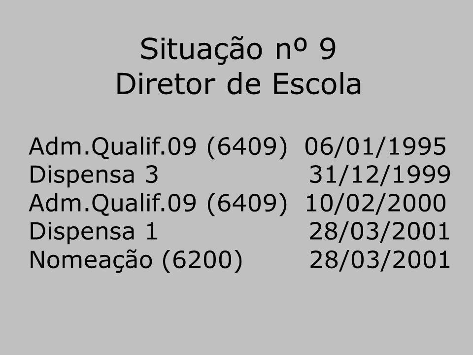 Situação nº 9 Diretor de Escola Adm.Qualif.09 (6409) 06/01/1995 Dispensa 3 31/12/1999 Adm.Qualif.09 (6409) 10/02/2000 Dispensa 1 28/03/2001 Nomeação (
