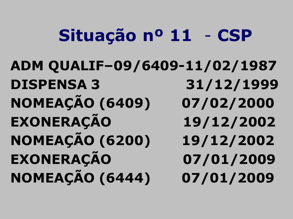 Situação nº 11 - CSP ADM QUALIF–09/6409-11/02/1987 DISPENSA 3 31/12/1999 NOMEAÇÃO (6409) 07/02/2000 EXONERAÇÃO 19/12/2002 NOMEAÇÃO (6200) 19/12/2002 E