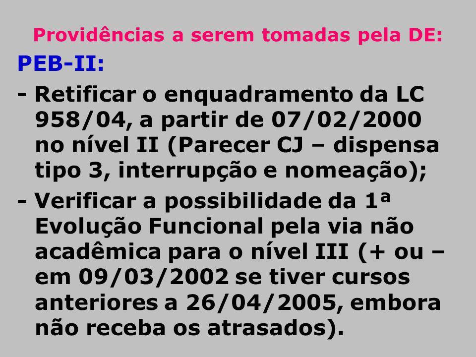 Providências a serem tomadas pela DE: PEB-II: - Retificar o enquadramento da LC 958/04, a partir de 07/02/2000 no nível II (Parecer CJ – dispensa tipo