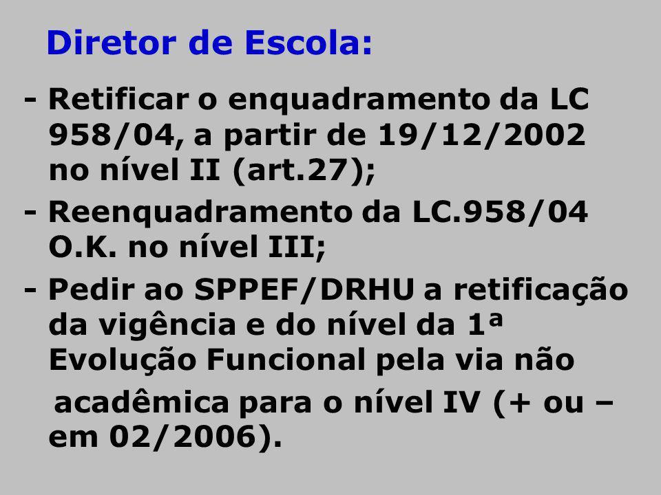 - Retificar o enquadramento da LC 958/04, a partir de 19/12/2002 no nível II (art.27); - Reenquadramento da LC.958/04 O.K. no nível III; - Pedir ao SP