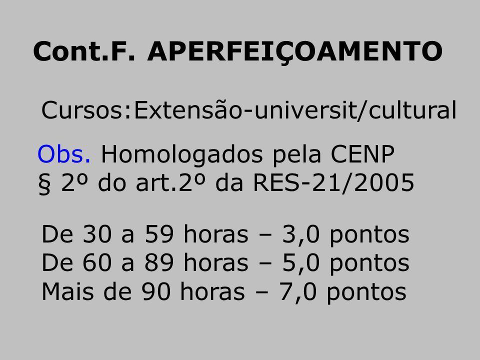 Cursos:Extensão-universit/cultural Obs. Homologados pela CENP § 2º do art.2º da RES-21/2005 De 30 a 59 horas – 3,0 pontos De 60 a 89 horas – 5,0 ponto