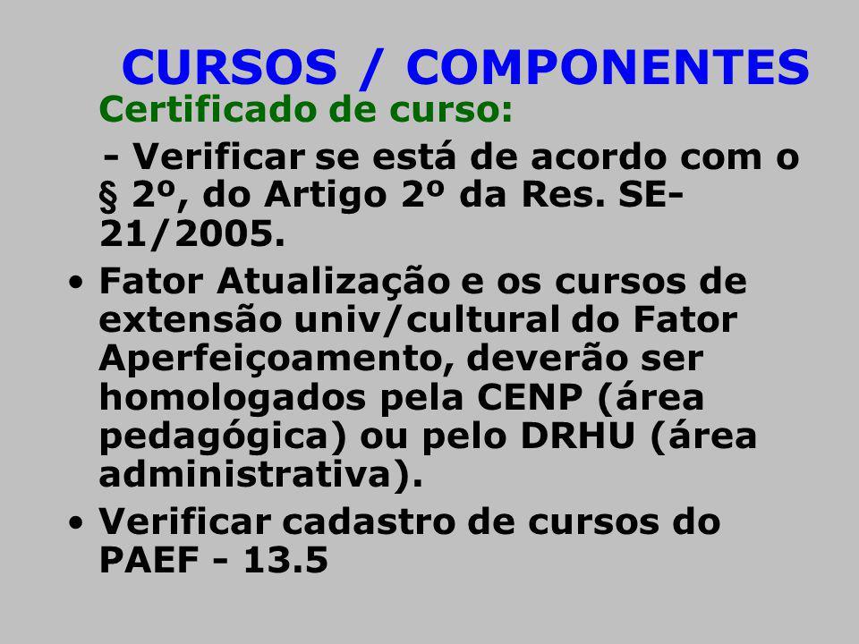 CURSOS / COMPONENTES Certificado de curso: - Verificar se está de acordo com o § 2º, do Artigo 2º da Res. SE- 21/2005. Fator Atualização e os cursos d