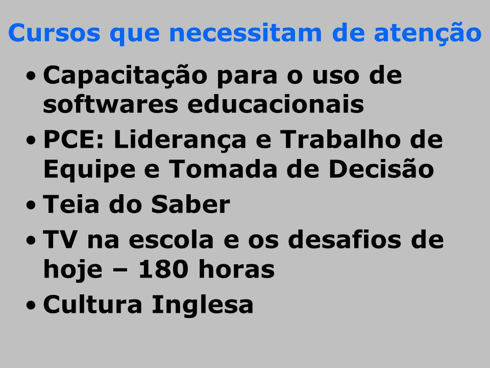 Cursos que necessitam de atenção Capacitação para o uso de softwares educacionais PCE: Liderança e Trabalho de Equipe e Tomada de Decisão Teia do Sabe