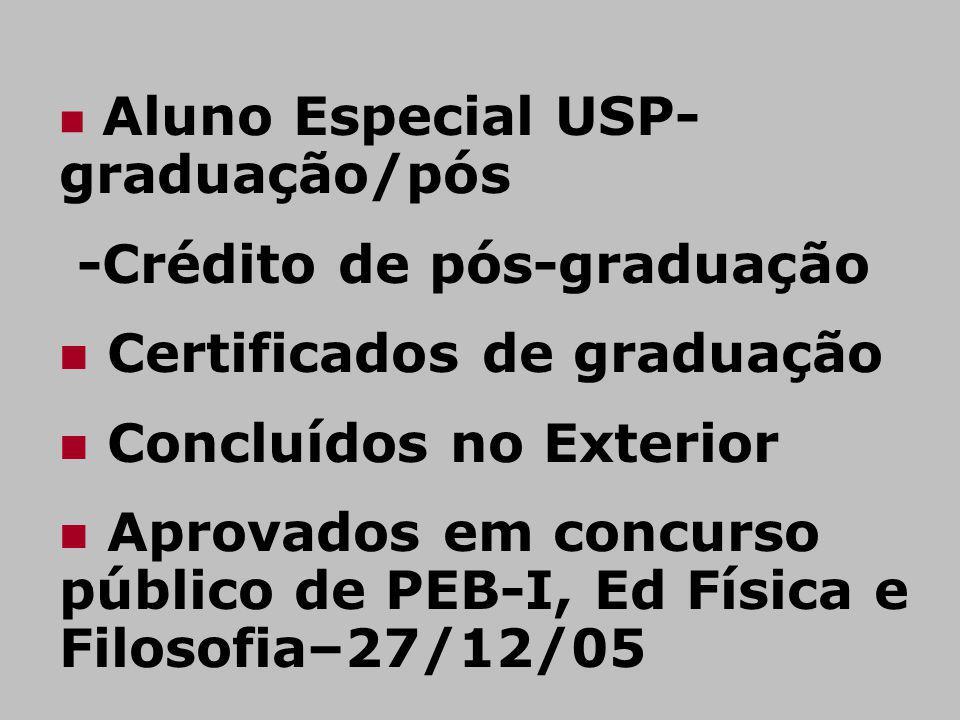 Aluno Especial USP- graduação/pós -Crédito de pós-graduação Certificados de graduação Concluídos no Exterior Aprovados em concurso público de PEB-I, E