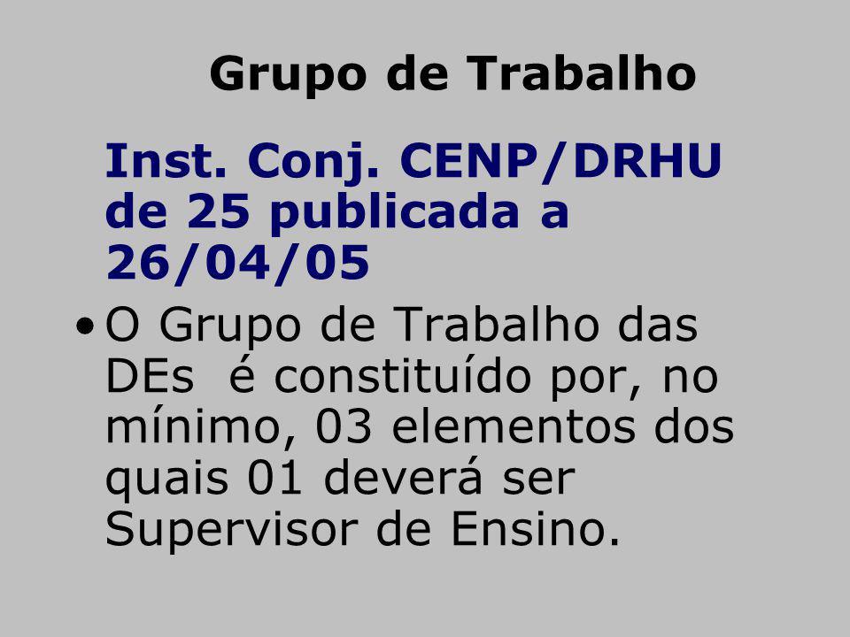 Grupo de Trabalho Inst. Conj. CENP/DRHU de 25 publicada a 26/04/05 O Grupo de Trabalho das DEs é constituído por, no mínimo, 03 elementos dos quais 01