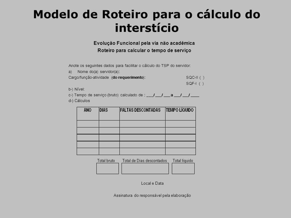 Modelo de Roteiro para o cálculo do interstício Evolução Funcional pela via não acadêmica Roteiro para calcular o tempo de serviço Anote os seguintes