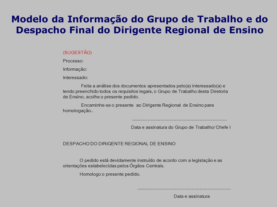 Modelo da Informação do Grupo de Trabalho e do Despacho Final do Dirigente Regional de Ensino (SUGESTÃO) Processo: Informação: Interessado: Feita a an