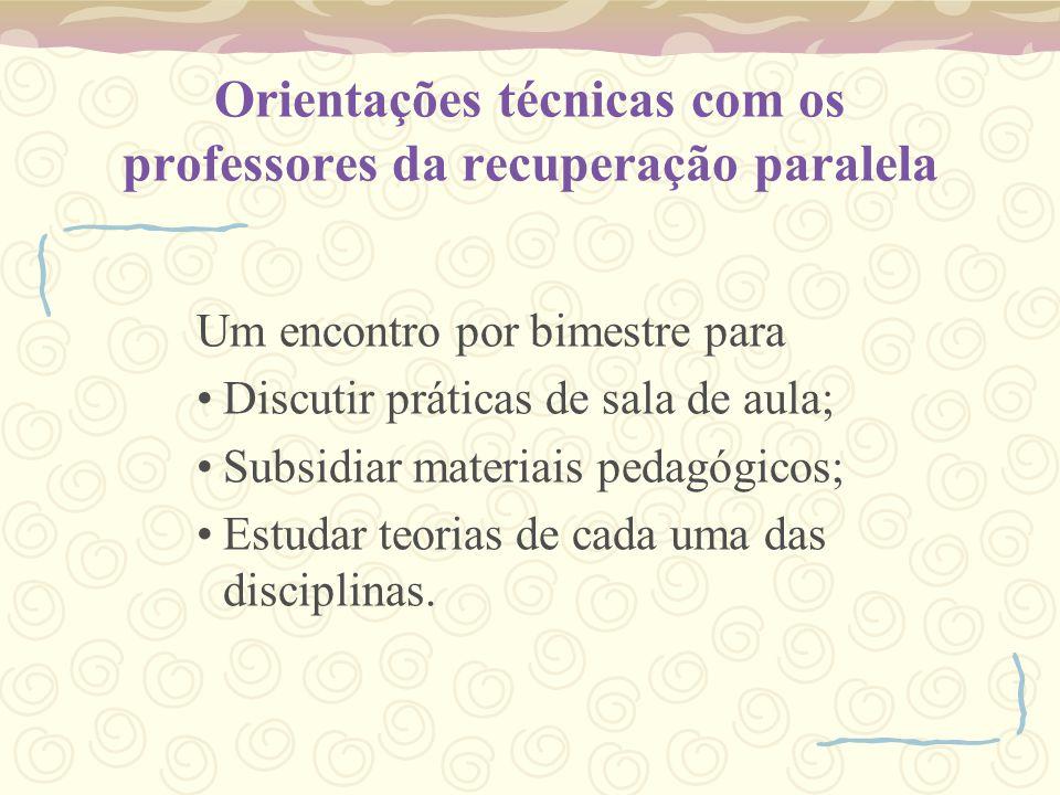 Orientações técnicas com os professores da recuperação paralela Um encontro por bimestre para Discutir práticas de sala de aula; Subsidiar materiais pedagógicos; Estudar teorias de cada uma das disciplinas.