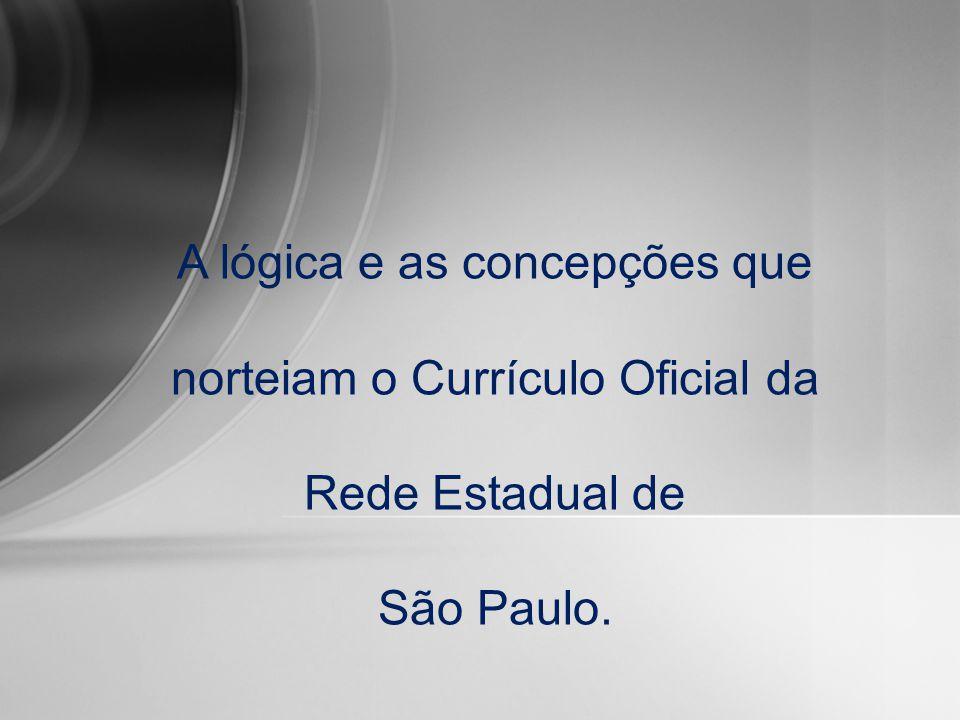 A lógica e as concepções que norteiam o Currículo Oficial da Rede Estadual de São Paulo.