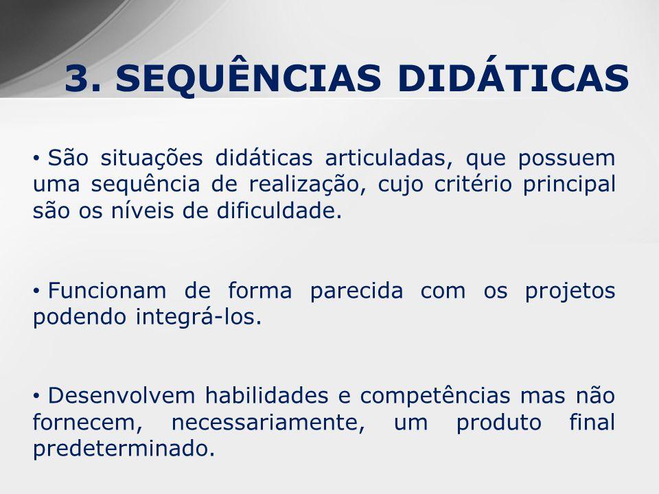 3. SEQUÊNCIAS DIDÁTICAS São situações didáticas articuladas, que possuem uma sequência de realização, cujo critério principal são os níveis de dificul