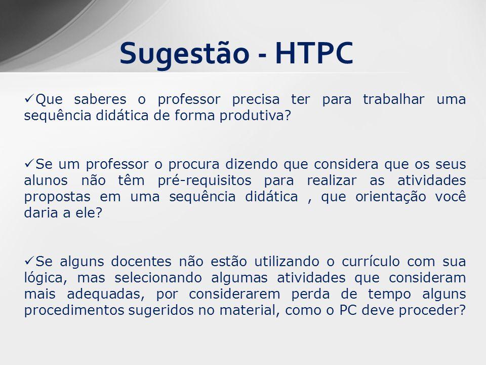 Sugestão - HTPC Que saberes o professor precisa ter para trabalhar uma sequência didática de forma produtiva? Se um professor o procura dizendo que co
